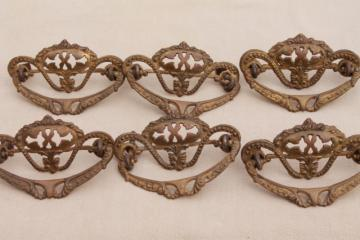 vintage hardware lot, ornate antique brass drawer pull handles set of six pulls