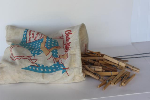 vintage hardwood clothespins in Champion housewife print graphics bag for laundry room clothes line