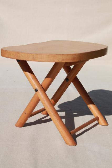 Excellent Vintage Hardwood Folding Stool Travel Camp Seat Nevco Foldn Onthecornerstone Fun Painted Chair Ideas Images Onthecornerstoneorg