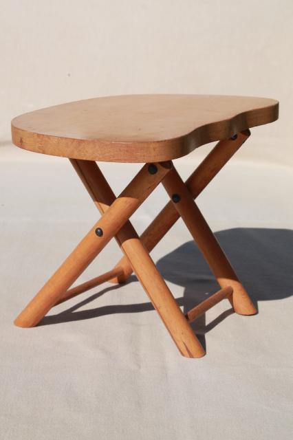 Vintage Hardwood Folding Stool Travel Camp Seat Nevco