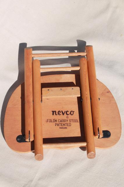 Vintage Hardwood Folding Stool Travel Camp Seat Nevco