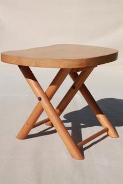 vintage hardwood folding stool travel camp seat, Nevco foldn carry stool