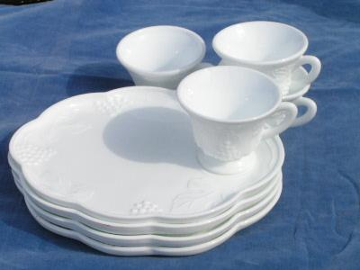 vintage harvest grapes milk glass snack set for four