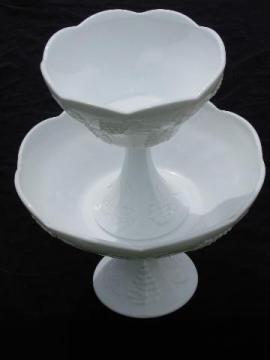 vintage harvest grapes milk glass tiered pedestal comports fruit stands