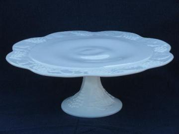 vintage harvest grapes pattern milk glass cake pedestal stand