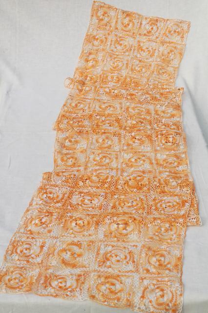 Vintage Harvest Table Runner, Farmhouse / Country Handmade Crochet Lace  Topper
