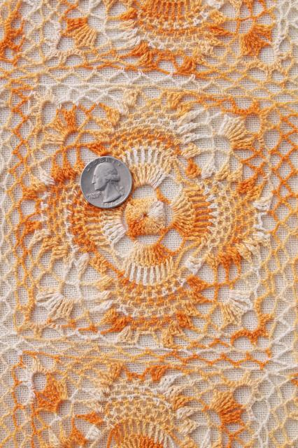 Vintage Harvest Table Runner, Farmhouse / Country Handmade Crochet Lace  Topper