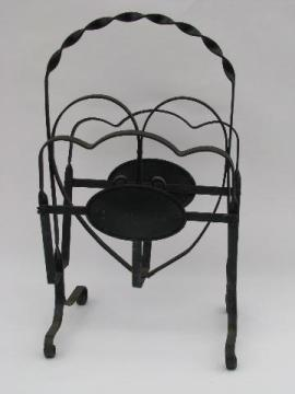 vintage heart shape wrought iron reading stand for magazines, papers