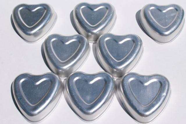 vintage heart shaped aluminum baking pans for individual cakes or jello molds Valentine hearts