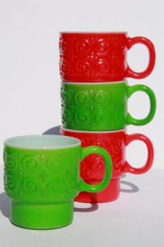 vintage heat proof glass coffee cups, milk glass mugs w/ red & green fired on color