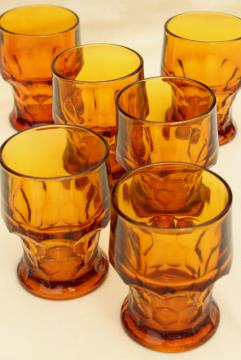 vintage heavy amber glass tumblers, Viking Georgian drinking glasses set of 6