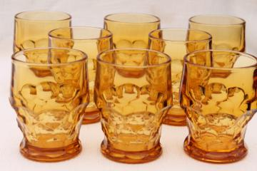 vintage heavy amber glass tumblers, Viking Georgian drinking glasses set of 8