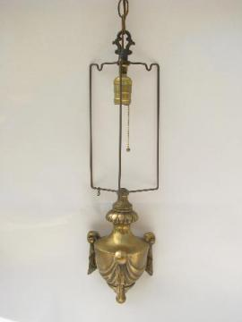 vintage heavy brass chandelier swag lamp, drum shade hanging light