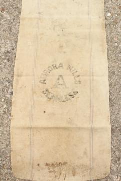 vintage heavy cotton grain sack, farm country primitive Aurora Mills striped seamless feed bag