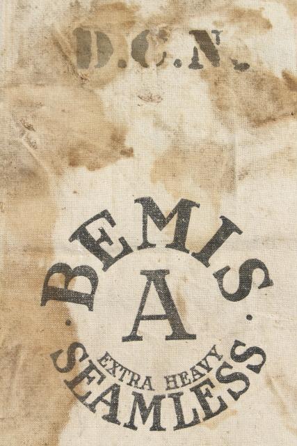 Vintage Heavy Cotton Grain Sack Striped Bemis Feed Bag