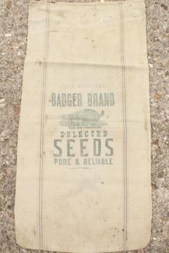 vintage heavy cotton grain sack, striped feed bag Wisconsin Badger brand seeds advertising