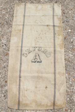 vintage heavy cotton grain sack, striped feed bag letter A Oxford advertising