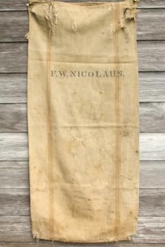 vintage heavy cotton grain sack, striped seamless feed bag, primitive grubby antique fabric