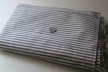 vintage heavy cotton ticking fabric pillow covers, indigo blue stripe unbleached cotton