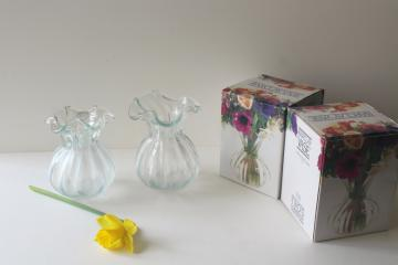 vintage heavy hand blown glass vase set for flowers or bulb vases, crystal clear glass