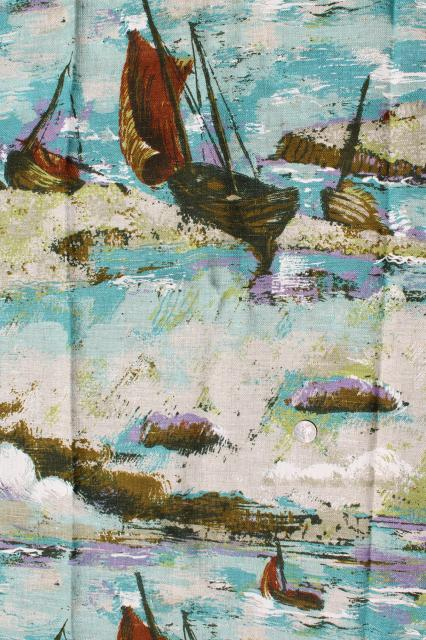 vintage heavy linen fabric w/ printed art print, sailing fishing boats in ocean breakers
