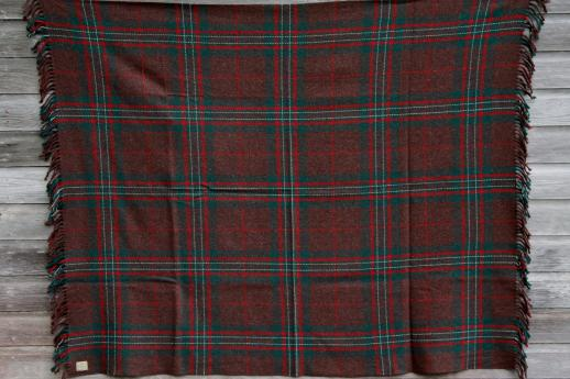 vintage heavy plaid wool camp blanket w/ old Chase label, Troy Blanket Mills
