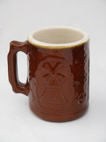 vintage heavy stoneware pottery beer steins or cider mugs, man w/ pipe