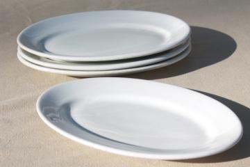 vintage heavy white ironstone china platters or oval lobster plates, set of four