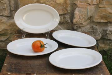 vintage heavy white ironstone china platters or oval plates stack of four