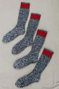 vintage heavy wool boot socks, primitive stockings long grey wool socks w/ red tops
