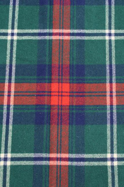 vintage heavy wool plaid camp blanket, rustic primitive bunk or bed blanket for cabin or lodge