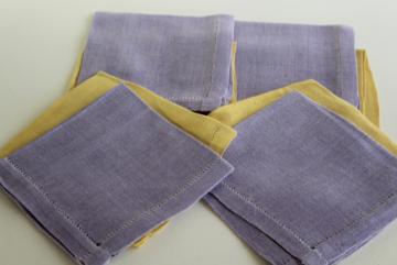 vintage hem stitched cloth napkins, pure linen fabric yellow & lavender