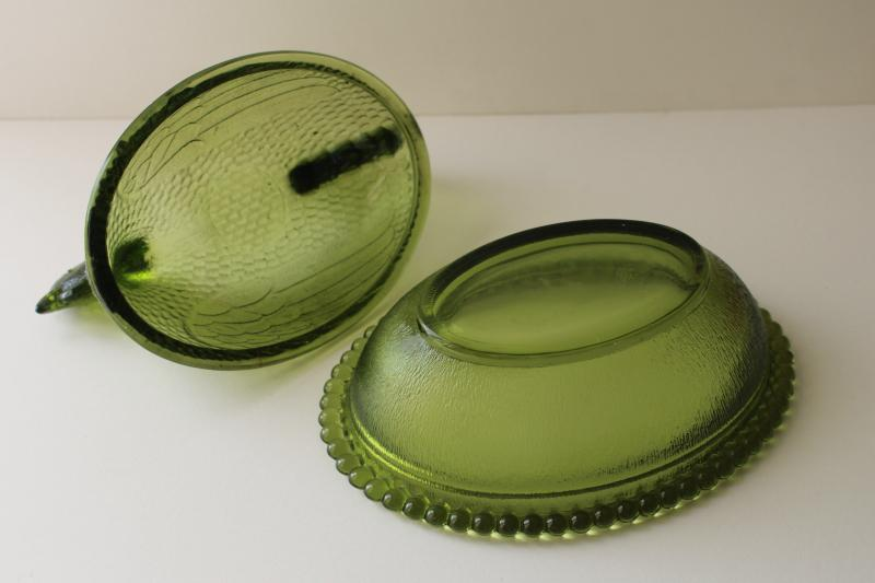 vintage hen on nest box or covered dish, avocado green color Indiana glass