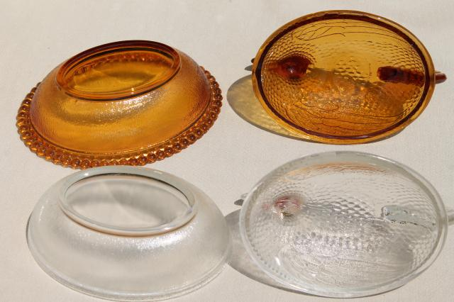 vintage hen on nest collection, amber, milk glass, clear pressed glass dishes hens on nests