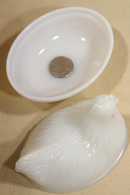 vintage hen on nest covered dishes or boxes, white opalescent milk glass