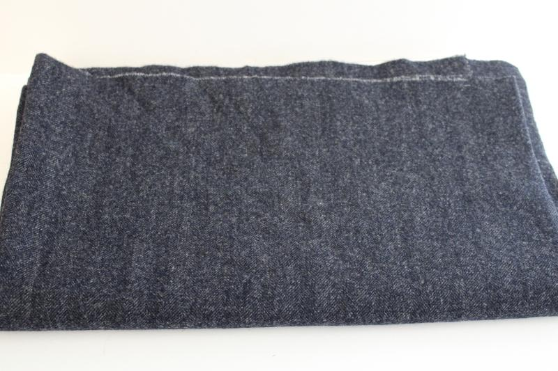 vintage herringbone wool fabric for sewing crafts or rug making, blue charcoal grey
