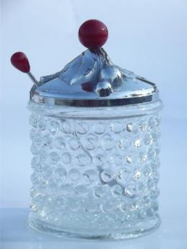 vintage hobnail clear glass jam pot, preserve jar w/ spoon and chrome lid