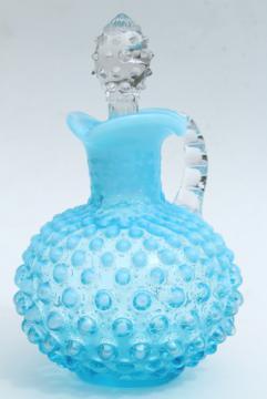 vintage hobnail glass cruet, aqua blue glass bottle w/ clear glass stopper