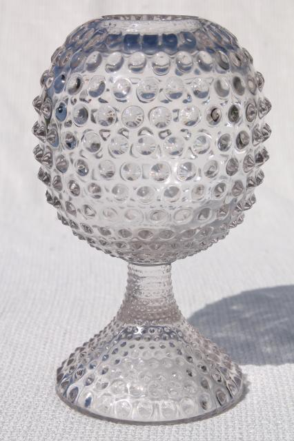 Vintage Hobnail Glass Ivy Ball Globe Vase Crystal Clear Pressed