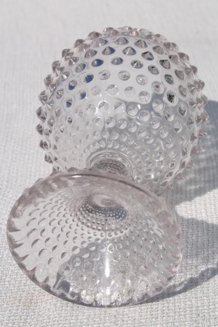 Vintage Hobnail Glass Ivy Ball Globe Vase Crystal Clear
