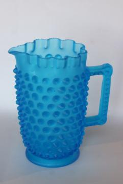 vintage hobnail glass pitcher, blue mist satin frosted glass