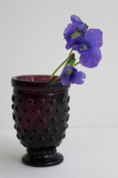 vintage hobnail glass toothpick vase or match holder, old amethyst glass