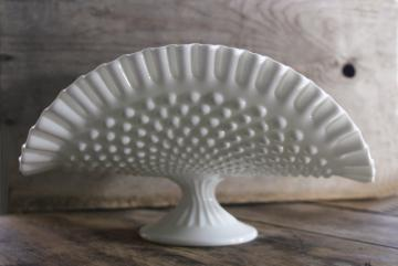 vintage hobnail milk glass banana stand fruit bowl, Fenton paper label