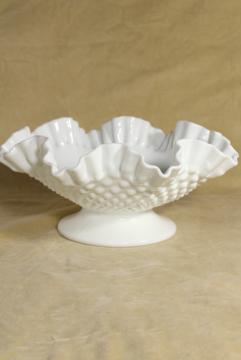 vintage hobnail milk glass bowl marked Fenton, low compote dish w/ crimped ruffle edge