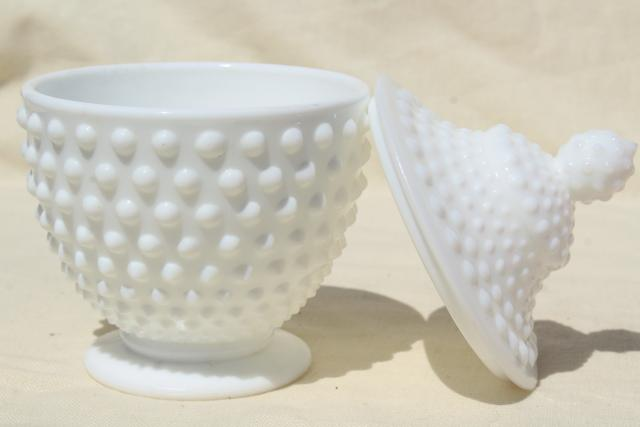 vintage hobnail milk glass covered jar or candy dish, unmarked Fenton glass