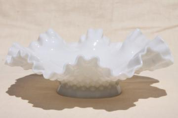 vintage hobnail milk glass epergne bowl, centerpiece for Fenton three horn vase