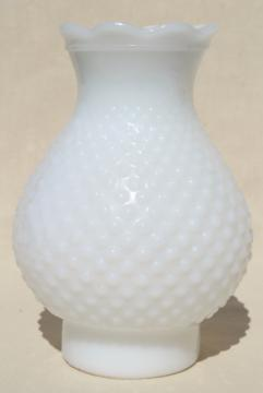 vintage hobnail milk glass hurricane lampshade, chimney shade for oil lamp