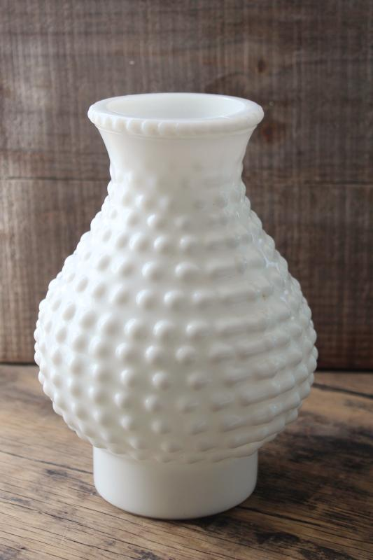vintage hobnail milk glass lamp shade, replacement hurricane chimney light