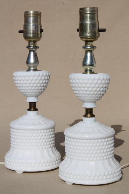 vintage hobnail milk glass lamps, 1950s dresser lamp pair boudoir lamps