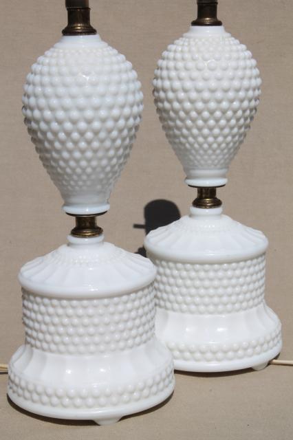 Vintage Hobnail Milk Glass Lamps 1950s Dresser Lamp Pair
